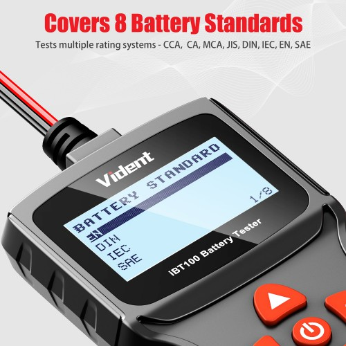 [EU Ship] VIDENT iBT100 12V Battery Analyzer for Flooded, AGM,GEL 100-1100CCA Automotive Tester Diagnostic Tool