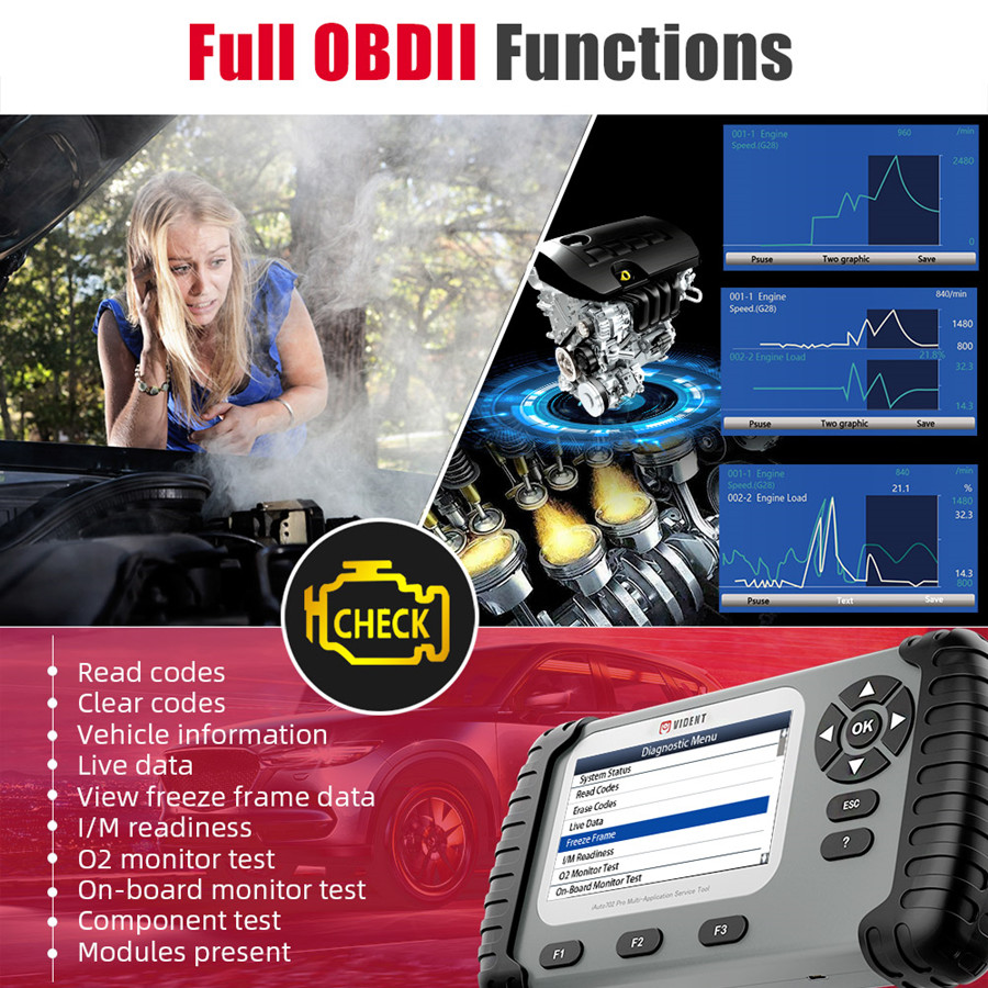 vident iauto702 pro obdii function